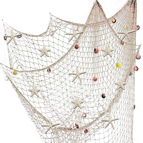 79 x 59 inch Nature Fish Net Wall Decoration with Sea Shells and 10 pcs Natural Starfish Mediterranean Style Decor Wall Decoration