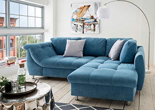 lifestyle4living Ecksofa mit Schlaffunktion   Eckcouch Eckgarnitur Polsterecke L Couch Sofa L Form   Wohnlandschaft inkl. Rückenkissen und Zierkissen   Stoff Blau