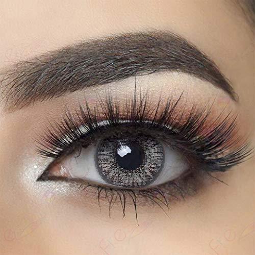 Farbige Jahres Kontaktlinsen braun, blau, grün, grau, türkis weich, ohne Stärke als 2er Pack (2 Stück)- mit Aufbewahrungsbox, angenehm zu tragen, perfekt für helle und dunkle Augen, Party (Grau)