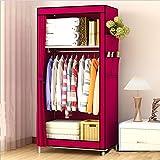 H-basics Armario de tela de 60 x 45 x 145 cm, en color rosa fucsia, armario plegable con bolsillos laterales, estantes y barra para colgar para interiores y exteriores