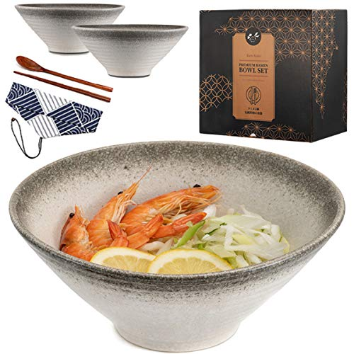 2x Ceramic Japanese Ramen Bowl set (8pcs) 57 ounce Large Noodle Soup Bowl, with Chopsticks and Spoon Set for Asian Pho Udon Soba (White)