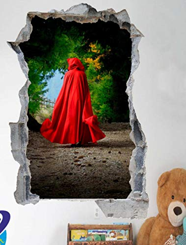 Yxsnow 3D Pegatinas de pared Forest Red Riding con capucha Extraíble Agujero en la pared Vinilo Decorativo Pegatinas Vista de Efecto Adhesivos De Pared