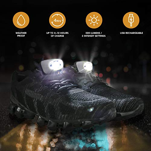 Night Running Gear Running Shoes Light or Headlamp, USB Rechargeable Waterproof Ultra Lightweight Lights for Night Running, Hiking, Fishing, Walking, with Reflective Vest and Headlamp Band (White)