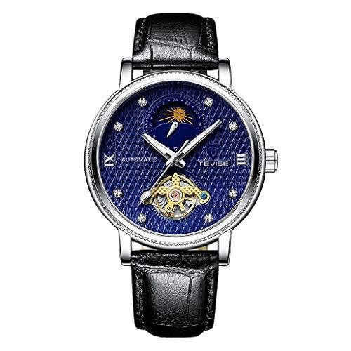 freneci Reloj Mecánico Automático para Hombre Caja Plateada Reloj de Cuero Vintage - Blanco marrón - Azul Negro