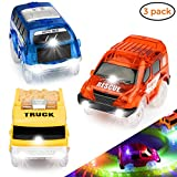 YogiMall Track Cars Replacement Light Up Toy Cars with 5 Flashing LED Lights - Racing Car Track Accessories Compatible with Most Car Tracks for Kids - Perfect for Boys & Girls (Style 1)