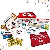 Geburtstagsgeschenk   Erste Hilfe Set Geschenk-Box, witziger Sanikasten   9-teilig   Scherzartikel zum Geburtstag
