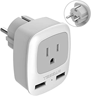 Germany France Travel Power Adapter, TESSAN Schuko European Plug with 2 USB, Outlet Adaptor Charger for US to Europe EU German French Russia Iceland Spain Greece Norway Korea (Type E/F)