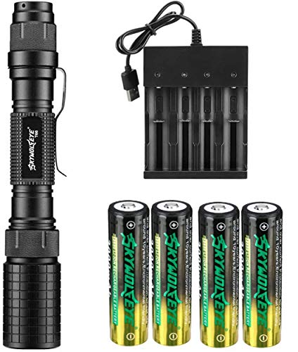 18650 Tactical Flashlight 5 Modes High 1200 Lumens Rechargeable Zoomable LED Flashlights with 4 Pack 3000mAh 18650 3.7v li-ion rechargeable battery and USB Charger for Camping Fishing Hiking