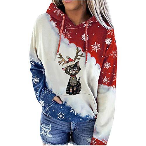 AIORNIY Damenpullover Langarm Elegant Damen Weihnachten gedruckt Farbblock Kapuze Beiläufig Sweatshirt Tops Winter Oberteile Herbst Sexy Bluse Frauen