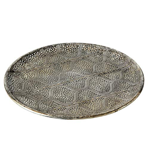 WHW Whole House Worlds Ikat Lattice Round Metal Tray, Decorative Metal Serving Organizer, Rustic Grey Patina, Tarnished Glam Gold Gilt, Patina, 11 Inches