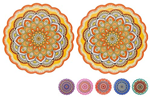 YiKitHom Ceramic Trivets for Hot Dishes Pots and Pans Ceramic Yellow Trivet with Cork Base 78 Inch Round Lace Set of 2