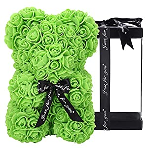 Silk Flower Arrangements ZFDEBY Rose Flower Bear-Hand Made Teddy Bear,Best Artificial Decoration Gifts for Mothers Day,Valentines Day,Bridal,Weddings,The Perfect Party Clear Gift Box(05-Green)
