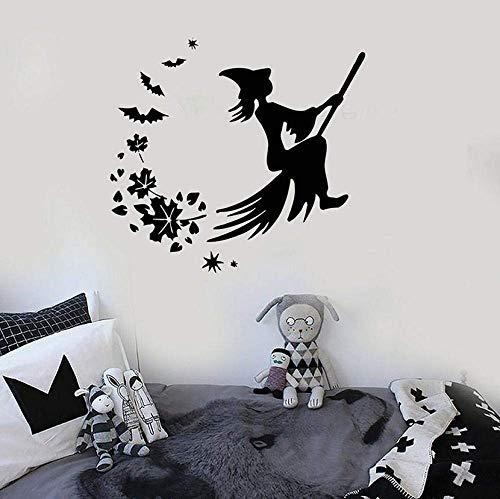 Muursticker vinyl muursticker Halloween heksenbezem Magic Fairy Tale Leaves creatieve stickers kinderen slaapkamer kinderkamer kid zone wanddecoratie 42x45cm
