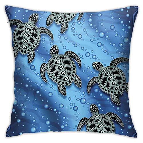 Funda de almohada cuadrada con diseño de tortugas marinas y tribales para el hogar o el sofá decorativo de 45,7 x 45,7 cm