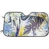 Kncsru Parabrisas Sun Shade Visor - Acuarela exótica de Patrones sin Fisuras. Elefantes con Coloridas Hojas Tropicales