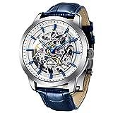 Relojes Analógicos BERSIGAR Automáticos Mecánicos Relojes de Esqueleto Hombres Reloj con Correa de Cuero Azul Relojes de Pulsera Impermeables para Hombres de Negocios Hombres