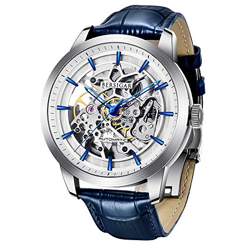 Herrenuhren Automatische BERSIGAR Mechanische Skelettuhren Herren Blaues Lederarmband Uhr wasserdichte Business Herrenarmbanduhren Herren