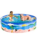 PUPTECK Dog Swimming Pool - Large Foldable Pet Pool Bathing Tub with Hawaiian Beach Printing Outdoor Bathtub Collapsible for Dogs and Kids Playing