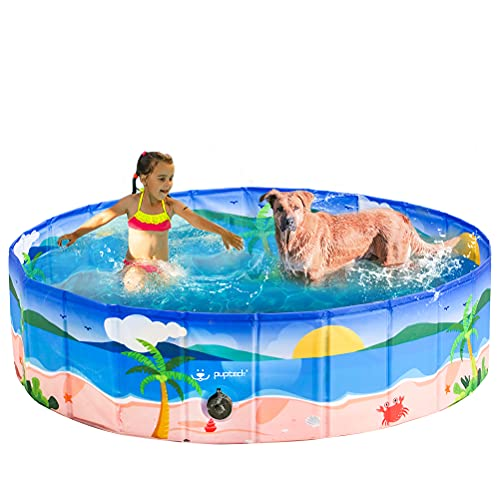 PUPTECK Dog Swimming Pool - Large Foldable Pet Pool Bathing Tub with Hawaiian Beach Printing Outdoor Bathtub Collapsible for Dogs and Kids Playing (6311.8in)