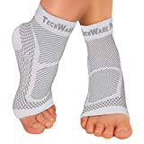 TechWare Pro Ankle Brace Compression Sleeve - Relieves Achilles Tendonitis, Joint Pain. Plantar Fasciitis Foot Sock with Arch Support Reduces Swelling & Heel Spur Pain. (White, XXL)