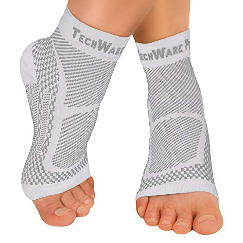 TechWare Pro Ankle Brace Compression Sleeve - Relieves Achilles Tendonitis, Joint Pain. Plantar Fasciitis Foot Sock with Arch Support Reduces Swelling & Heel Spur Pain. (White, L / XL)