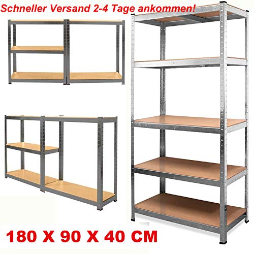 Heavy Duty Steckregal 5 Etagen Garage Regal Gewächshaus Utility Aufbewahrung Zuhause Rack 1800 x 900 x 400mm - Verzinkt