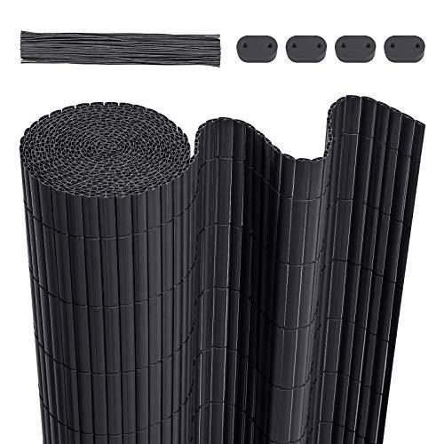 LARMNEE PVC Zaun Sichtschutzmatte, 1 x 8 m Balkonverkleidung, Sichtschutzzaun, mit verstärkten Lamellen und Kablebindern, Balkonumrandung, Garten, Balkon, Dunkelgrau EGY108LB02