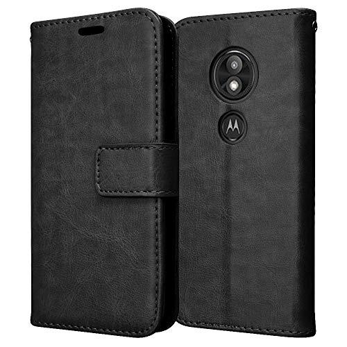 TECHGEAR Leder Hülle kompatibel mit Motorola Moto E5 Play - PU Leder Flip Hülle Schutzhülle Ledertasche [Brieftasche] Handyhülle mit Ständer & Handschlaufe Beutel Hülle - Schwarz