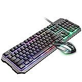 LaLa POP Arco Iris del LED Retroiluminada De Teclado Y Ratón, Ratón del Juego Y Teclado 104 Clave De Ordenador Muñeca del USB Ratón For Juegos Gaming Keyboard Combo (Color : Black)