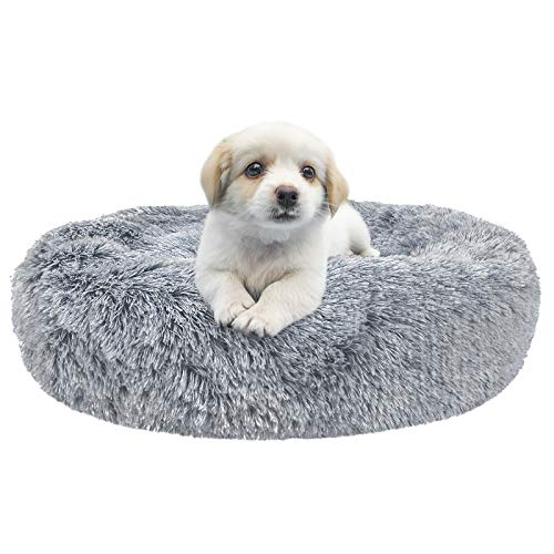 Dog Beds for Large Medium Small Dogs Round, Cat Cushion Bed, Calming Pet Beds Cozy Fur Donut Cuddler Improved Sleep, Orthopedic Relief, Washable(Multiple Sizes)