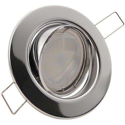 Preisvergleich Produktbild DECORA LED 3er Set 6W dimmbar 230V GU10 Decken Einbaustrahler Warm-Weiß CHROM GLÄNZEND schwenkbar,  Leuchtmittel austauschbar Einbauleuchte Einbauspot Downlight
