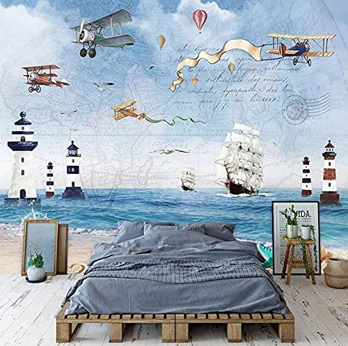 Papel Pintado Murales 3D Papel Tapiz Mural 3D Dibujos Animados Avión Velero Mar Pintura De Pared Niños Dormitorio Fondo Decoración De Pared Moderno Creativo Fresco-300 * 210Cm