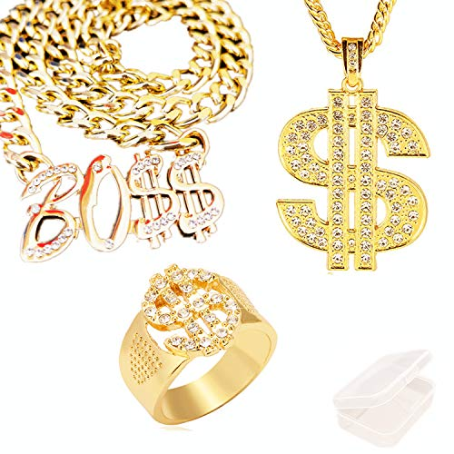 JinYu - Collar con colgante chapado en oro para hombre, diseño de hip-hop Cz con incrustaciones de dólares y collar con colgante y cartel de jefe con caja