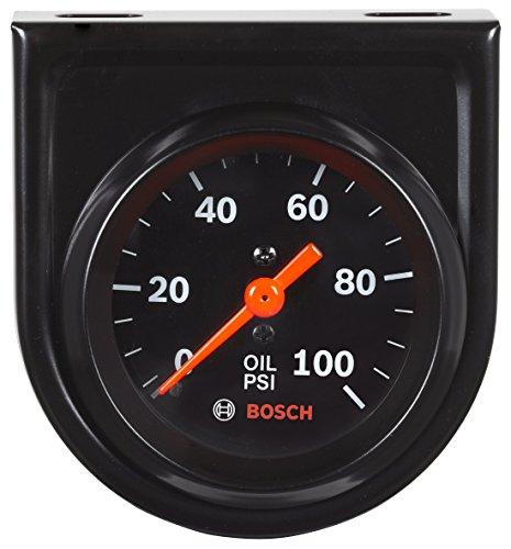 Actron SP0F000052 Bosch Style Line 2  Mechanical Oil Pressure Gauge (Black Dial Face, Black Bezel)