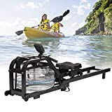 Koreyosh Water Rowing Machine Indoor Water Rower Adjustable Resistance with LCD Monitor Home Gym Equipment for Whole Body Exercise Cardio Training (Steel-BK)
