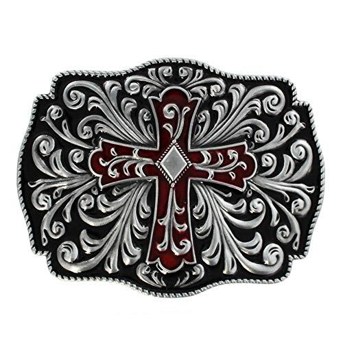 eeddoo® Gürtelschnalle - antikes Kreuz rot/schwarz verziert (Buckle für Wechselgürtel für Damen Herren | Belt Frauen Männer Oldschool Rockabilly Metall Gothic Wave Rock Biker Western Trucker Skull)