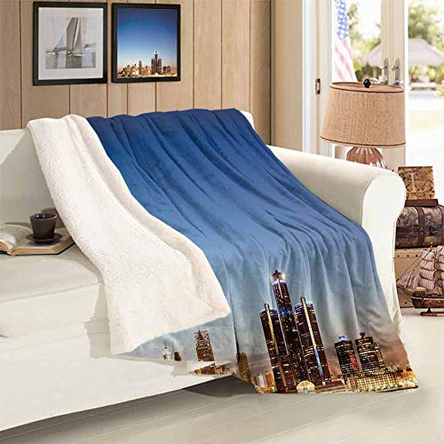 Throwing Blanket Throw Size Michigan Skyline at Twilight Waterfront Lively City Serene Travel Destination Super Soft Cozy Warm Blankets for Fall Winter Spring Living Room 59 x 47 inch