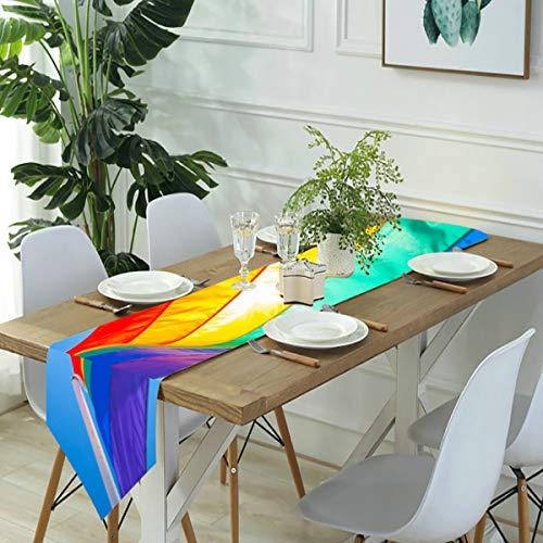 Zhark, runner da tavola, sciarpe con bandiera arcobaleno su Gay Beach e Miami segni simbolici, runner da tavola da cucina, per cene in fattoria, feste, matrimoni, eventi, decorazioni – 30 x 180 cm