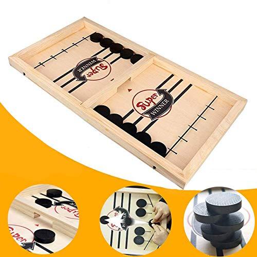 Brettspiel Hockey, Katapult Brettspiel,Bouncing Brettspiel,Fast Sling Puck Game,Tisch Hockey Brettspiel,Katapult Schach,Bouncing Chess Hockey Game,Puck Spiel Holz (Schwarz)