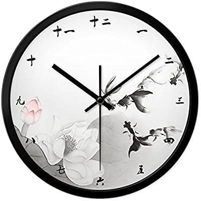 Znzbzt Simple Creative Mute Wall Clock Light Ink Painting Goldfish Wall Clock Chinese Study Wall Mute