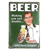 ビールの種類ヴィンテージブリキ看板バー看板キッチンの装飾屋外の壁の飾り額アンティークビールのポスター-20x30cm