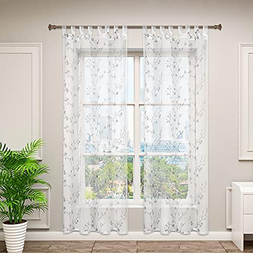 WOLTU VH6060gr-2, 2er Set Gardinen transparent Blumen Stickerei mit Schlaufen Leinen Optik, Doppelpack Vorhang Stores Voile Fensterschal Dekoschal für Wohnzimmer Schlafzimmer, 140x245 cm, Grau