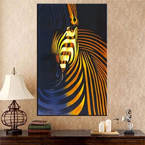 Poster Nordic muurschildering foto dier canvas schilderij zwart-wit olifant zebra print woonkamer decoratie schilderij-50x100cmx1