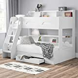 happybeds Wooden Bunk Bed, Orion Oak Triple Sleeper 3ft Single Top, 4ft Small Double Bottom Storage Drawer Frame Only