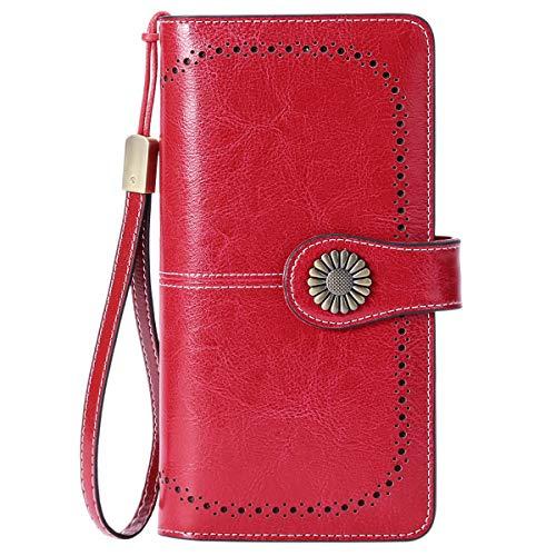Cartera Cuero Mujer Bloqueo RFID Monedero Piel Mujer Grande con Muchos Bolsillos, Billetera Larga Mujer con Cremallera 26 Ranuras para Tarjetas, Carteras de Piel para Dama XXL (Rojo1)