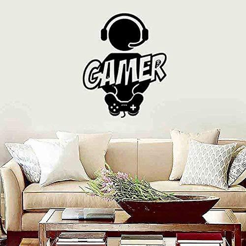 Pegatinas De Pared Gamer Wall Decal Sticker Art Vinyl Decor Decoración Para Sala De Juegos Dormitorio Negro 60X47Cm