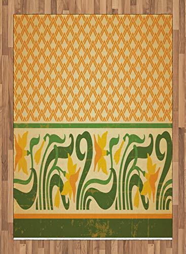 ABAKUHAUS Jugendstil Teppich, Aufwändige Narzissen, Deko-Teppich Digitaldruck, Färben mit langfristigen Halt, 160 x 230 cm, Orange Gelb-Grün