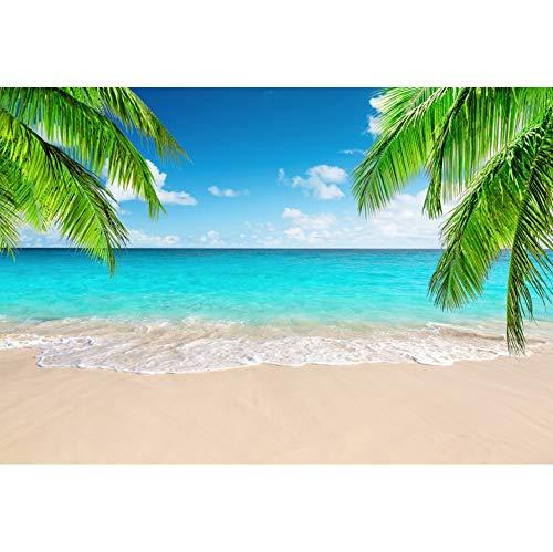 Leowefowa 3x2m Vinyl Summer Beach Backdrop Tropical Sea Backdrop Palm Blue Sky Vacation Photo Background for Hawaii Birthday Wedding Party Photo Booth Shoots Studio Props Photography Backdrops
