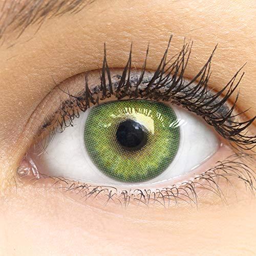 GLAMLENS Florence Green Grün + Behälter | Sehr stark deckende natürliche grüne Kontaktlinsen farbig | farbige Monatslinsen aus Silikon Hydrogel | 1 Paar (2 Stück) | DIA 14.00 | ohne Stärke