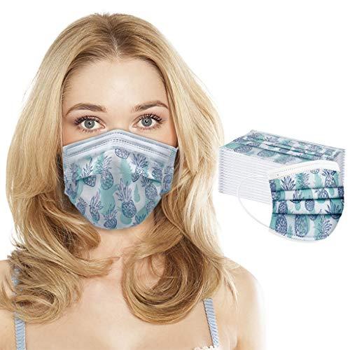 Akaide Mundschutz für Erwachsene, Einweg, Vlies, Spunlace Mundschutz, staubdicht, sicher, hygienisch, atmungsaktiv, modischer Druck, 50 Stück, mehrfarbig